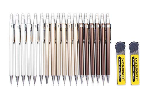 SKKSTATIONERY Metal Mechanical Pencils, Lead 0.7mm, 18 Pcs Mechanical Pencils & 220 Pcs Lead Refills, Self Sharpening Automatic Drawing Drafting