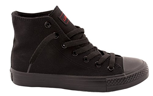 Damen Sneakers Low Top Sportschuhe Kult Laufschuhe Runners Fitness New Look Textil Canvas Schuhe (38, Black-Black)