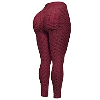 Beyondfab Women's High Waist Textured Butt Lifting Slimming Workout Leggings Tights Burgundy LX