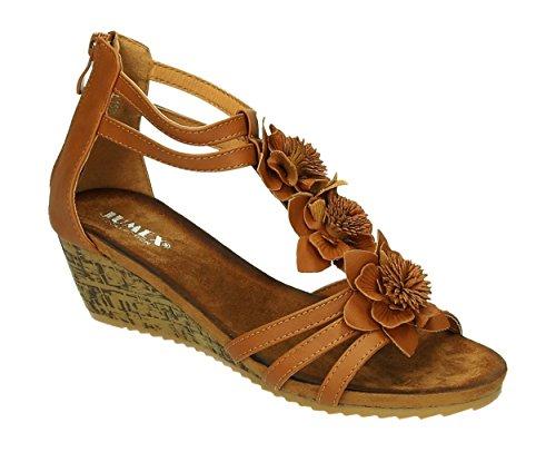 Sommer Damen Riemchen Keil Sandalen Pumps Keilabsatz Wedges T-Riemen Sandaletten Blumen Peep Toes Schuhe 506 Camel