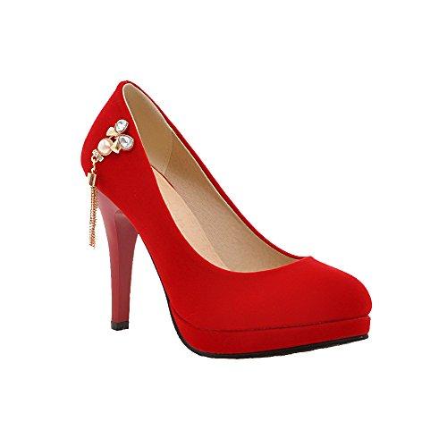 AllhqFashion Mujeres Tacón de aguja Puntera Redonda Cerrada Sólido De salón con Diamantes Rojo