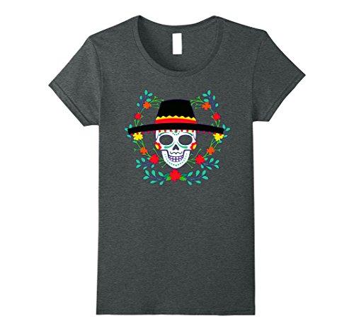 Women's Mexican Skull Cinco De Mayo Shirt Cinco De Mayo Costume Tee Large Dark Heather