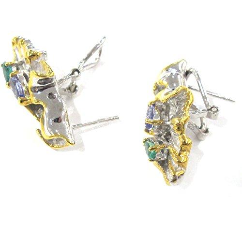 Magnifique Boucles d'oreilles Argent sterling émeraude et tanzanite