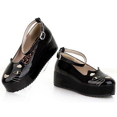 Beige UK4 Mujer US6 Azul Para Rojo Primavera Zapatos Negro RTRY Tacones EU36 De Confort Casual Charol Verano CN36 OnS1xwq4Ca