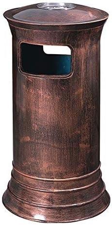 家庭用装飾収納バケット HJCAゴミ箱-ホテル縦型灰皿金属オフィス意図的に作成されたオールドアートエレガントクラシックロビーゴミ屋外屋外スチール-ブロンズ