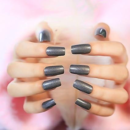 YUNAI uñas postizas -The Elegante y atractivo brillante MD-LONG Gris oscuro clavo falso