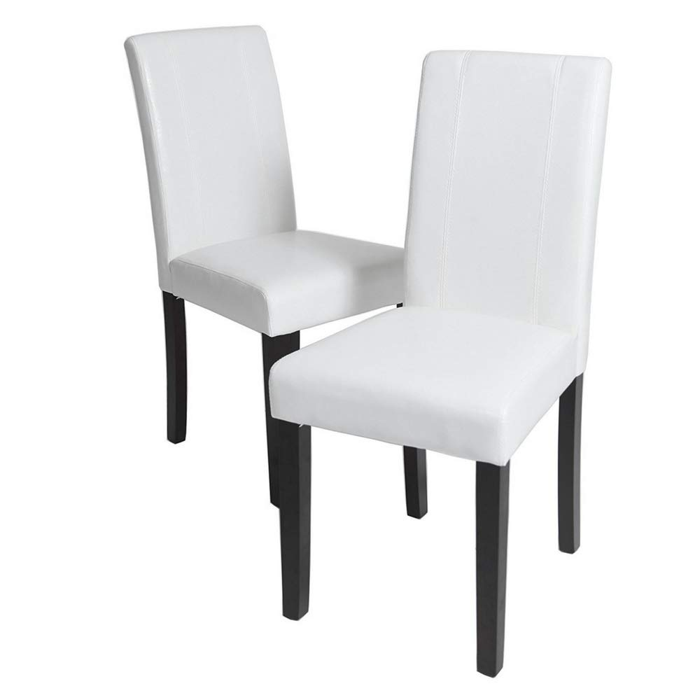 Amazon.com - Solid Wood Leatherette Dining Chairs Set of 2 Upholstered Dining Chair Modern Contemporary Tufted Cushion Dining Room Side Chair Armless Living ...