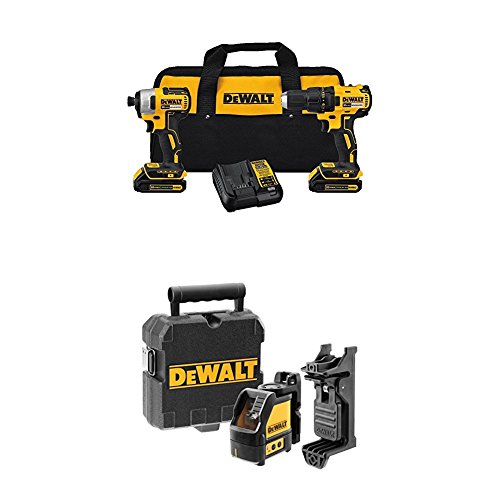 DEWALT DCK277C2 20V MAX Compact Brushless Drill and Impact Combo Kit with Self-Leveling Cross Line Laser