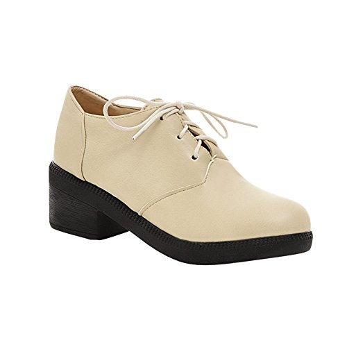 Fashion Show Oxfords Shine Shoes Beige Mid Heel Thick Women's B4xEwqr4