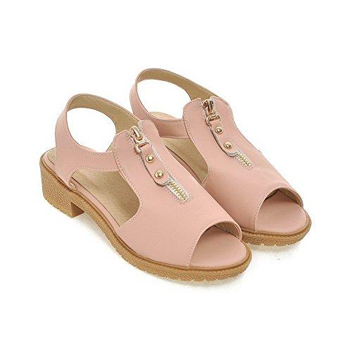 Odomolor Damen Weiches Material Fischkopf Schuhe Rein Niedriger Absatz Sandalen Pink