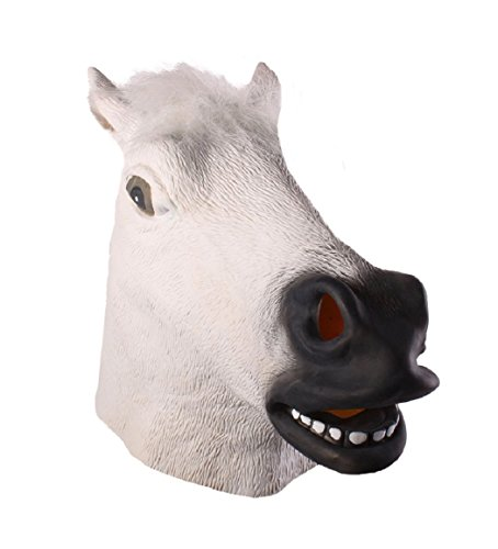 Full Head Mask Horse Head Mask Creepy Fur Mane Latex Realistic Crazy Rubber Super Creepy Party Halloween Costume Animal Mask (White)