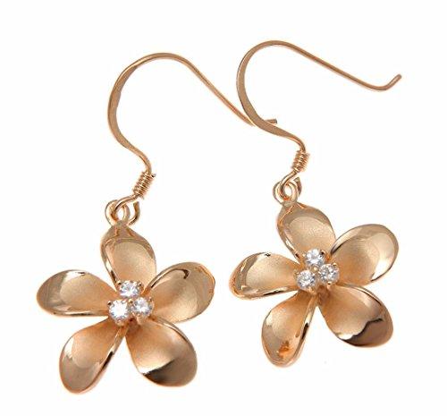 - 925 sterling silver pink rose gold plated Hawaiian plumeria flower 3 cz wire hook earrings 18mm