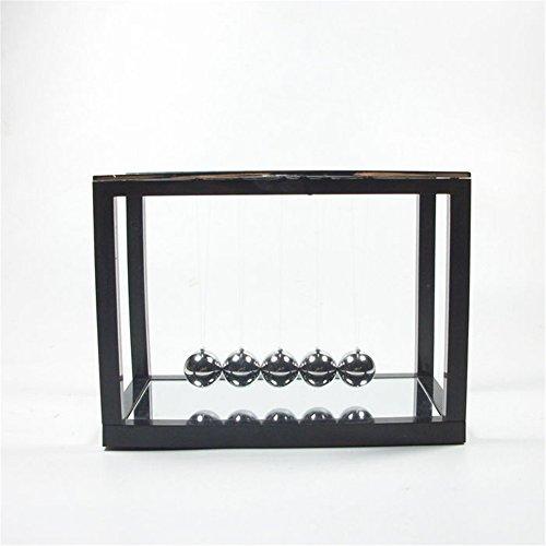 PROW Newton's Cradle with Mirror Metal Pendulum Balls Swing Ball Fun Creative Teaching Toys (Black)