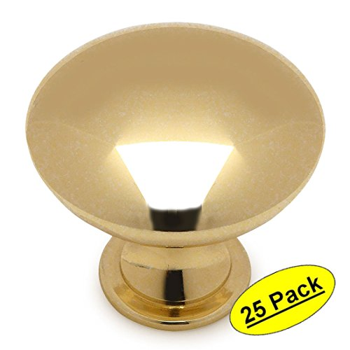 Cosmas 5305PB Polished Brass Traditional Round Solid Cabinet Hardware Knob - 1-1/4