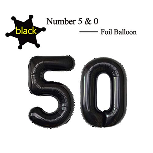40 Inch Jumbo Black Foil Mylar Number Balloon for Men Women 50th Birthday Party Decoration 50 Years Old Anniversary Party Supplies (50th Balloons For)