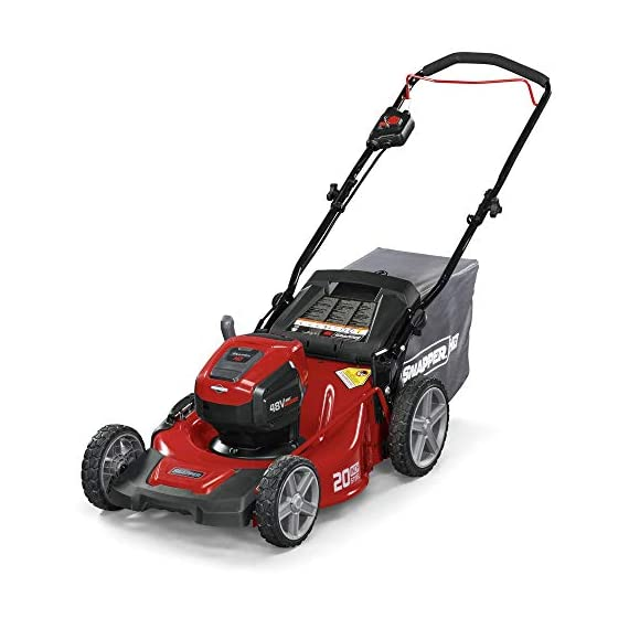 Snapper HD 48V MAX Cordless Electric 20-Inch Lawn Mower Kit with (1) 5.0 Battery and (1) Rapid Charger 1 Up to 90 minutes of run time with 5. 0 Battery under light loads** 3-in-1 mulch/bag/side-discharge options on 20-inch steel deck Intelligent load sensing technology - allows for optimum power levels while you mow for maximum efficiency