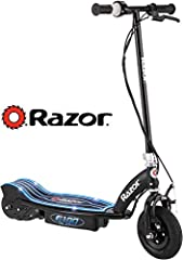Ready, set, glow. Kids will streak down the road atop the fun and fast E100 Glow Electric Scooter from Razor. And when the zoom becomes more of a put-put-put, simply recharge the motor for a few hours. One twist of the handle and the blue lig...