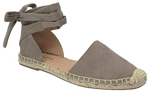 (Womens Ankle Wrap Espadrille Flat D'Orsay Sandal, Clay, 10)