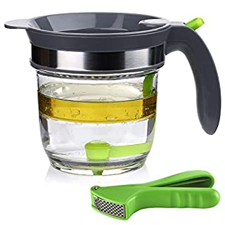 IVYONE 4 Cups Fat Separator with Bottom Release, Gravy Grease Separator, Soup Oil Separator Measuring Cup, including a Garlic Press for FREE
