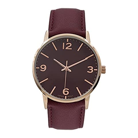 Rosemarie Collections Women's Vegan Leather Round Face Fashion Watch (Burgundy) (Vegan Leather Watch Man)
