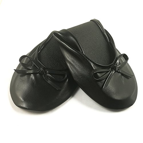 Leather Ballerina Slipper Black (Younker Fashion Women's Foldable Flat Ballet Shoes,Portable Travel Ballet Flat Slippers With Matching Carring Pouch (L, Black))