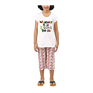 Clifton Girls Candy Pink Flower Printed Capri Set -What Ever It Is -Candy Pink Flower-White-(4-5Years) S