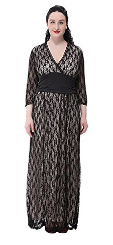 V Beige Women's Dress Empire Sleeve Maxi Lace Soojun Inner Waist Neck Uxz5wnR