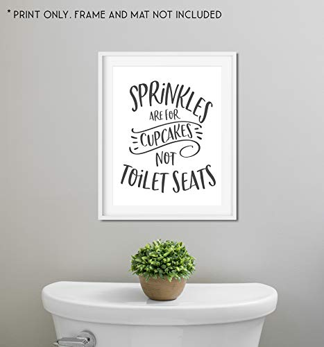 Sprinkles are for Cupcakes Not Toilet Seats - Funny Bathroom Sign - Unframed 11x14 Art Print