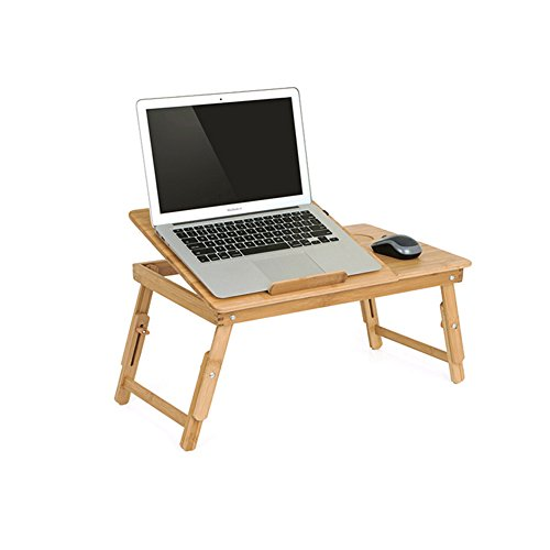 Laptop Desk Tray, Notebook, Ipad, Book Holder & Stand , Breakfast Serving Bed Tray, Adjustable & Foldable with Flip Top and Drawer, 100% Bamboo (With Breakfast Tray Cup Holder)