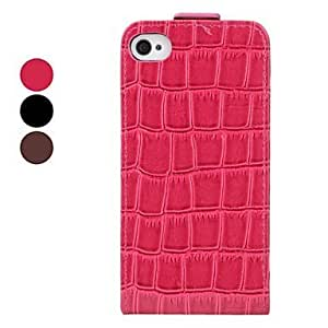 ZLXUSA (TM) Crocodile Skin Flip-On Style Full Body Case for iPhone 4/4S Rose