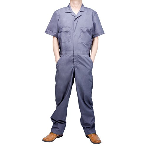 Akicon Men's Basic Short-Sleeve Workwear Coverall Breathable Wear-Resistant Charcoal