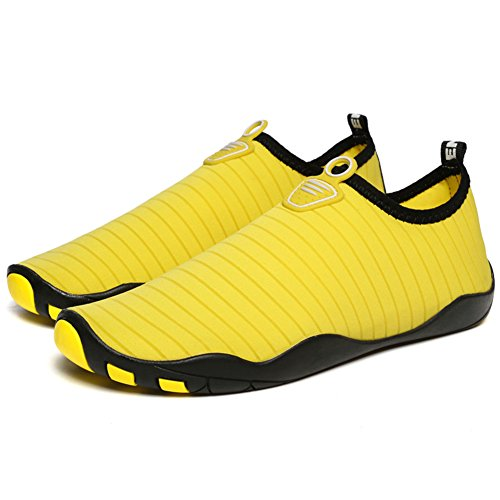 LINGTOM Unisex Quick-Dry Water Shoes Thick Sole Skin Aqua Socks Barefoot For Beach Yoga Exercise Yellow jAmDG1K