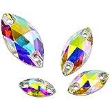 DONGZHOU Sew On Rhinestone AB Sewing Stone with Holes Navette Shape Sew On Beads Crystals Flat Back Glass Rhinestone Crystal