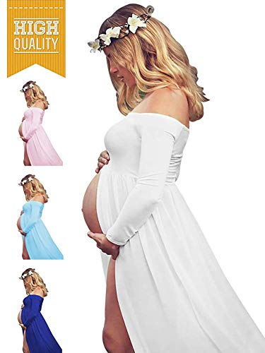 Women's Off Shouler Long Sleeve Maternity Dress for Photography Chiffon Maternity Gown for Photoshoot