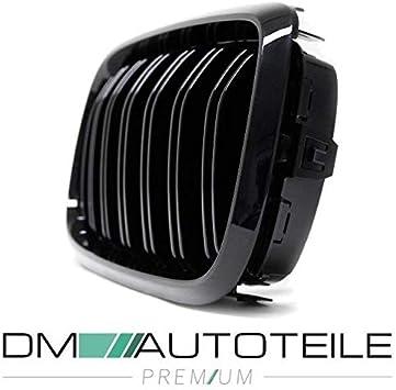 Dm Autoteile 2x Kühlergrill Glanz Schwarz Doppelsteg Passend Für X5 F15 X6 F16 Mit Kamera Auto