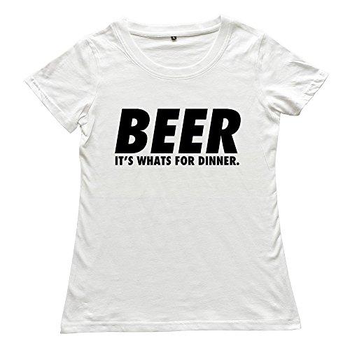 PTHZ Women's Beer Humor Its Whats Dinner Design Cotton T Shirt Tee White M