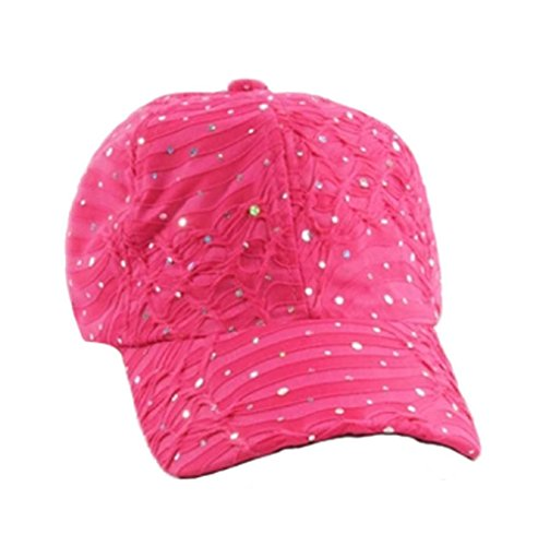 Glitter Sequin Baseball Cap Bling Bling Cap or Hat (Fuchsia)