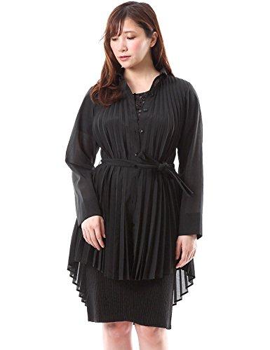 SPECCHIO PLEATS Elegant Organdy Accordion Pleats Long Shirt Blouse Black size2-20.