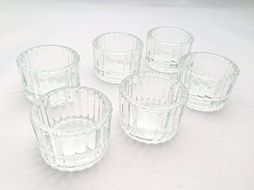 Glass Candle Confirmation (6 Pc Decorative Ribbed Glass Tealight Holder Small Candle Kitchen Table Decoration Home Decor Accent Wedding Communion Confirmation Baptism Christening Wedding Partey Shower Event)