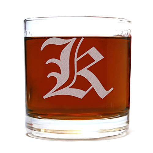 Etched Monogram 10.5oz Rocks Old Fashioned Lowball Glass for Whiskey Scotch Bourbon (Letter K)