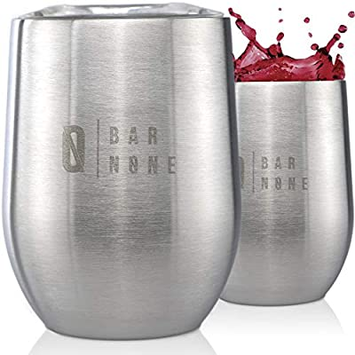 Stainless Steel Wine Tumbler with Lid Insulated Wine Glasses Insulated Tumbler Insulated Wine Tumbler with Lid Wine Tumblers Wine Cups Stemless Wine Tumbler Wine Cup | Bar None Wumbler 12 Oz Set of 2