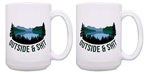 Sarcasm Coffee Mug Set Outside & Sht Funny Coffee Mug Set Outdoorsy Gifts for Men Novelty Camping Gifts 2 Pack Gift 15-oz Coffee Mugs Tea Cups 15 oz White (Sht Set)