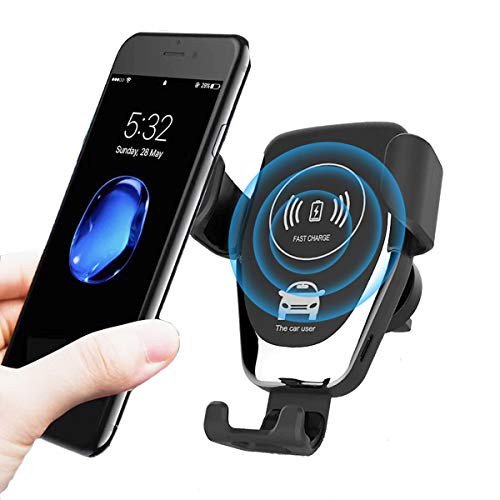 Dingqu Wireless Car Charger,10W/7.5W Qi Fast Charging,Car Air Vent Mount Phone Holder Gravity,Compatible with iPhone Xs MAX/XS/XR/X/8/8+, Samsung S10/S10+/S9/S9+/S8/S8+,All Qi-Enabled Phones (Black)