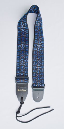 Guitar Strap BLACK BLUE BROWN WOVEN Nylon Solid Leather Ends Fits All Acoustic Electric & Bass & Mandolin Quality Made In U.S.A. Since - Delivery Time First Mail Class Usps International