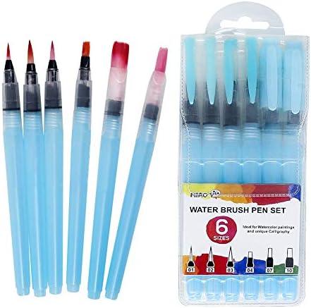 水彩絵筆 水彩ペン6本セット 水筆 アートペイント用品 大人用