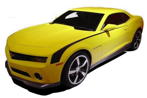 (MoProAuto Pro Design Series Throwback : 2010-2013 Chevy Camaro Side Hockey Style Vinyl Graphic Decal Stripes (FITS All Models) (Color-3M 5095 Matte Black))
