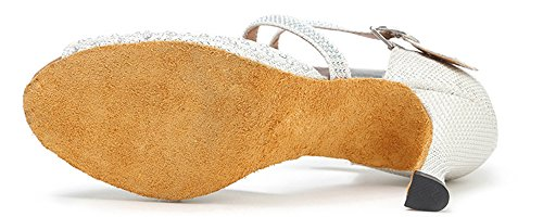 Shoes Glitter M 8 White Women's Dance Mary Shoes Shoes Dance US Party Jean Honeystore Latin B Rhinestone wzHqEF