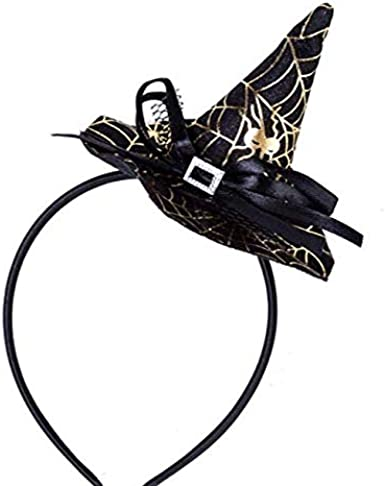 Xena Halloween Mini Witch Hat Spiderweb Headband Costume Black Trick Or Treat Favors Party Supplies 7 Inch