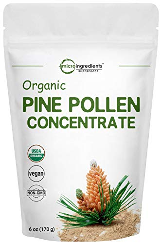 USDA Organic Pure Pine Pollen Powder, 6 Ounce, Supports Immune System Health, Boosts Energy, Antioxidant and Androgenic, No GMOs and Vegan Friendly (Best Pine Pollen Powder)