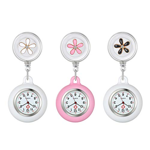 Lancardo Lots of 3 Lapel Watch for Nurses Doctors Clip-on Hanging Nurse Watches Cute Leaves Pattern Silicone Cover Badge Stethoscope Retractable Fob Watch
